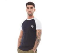 Shoulder Body Cut Script T-Shirt Navy