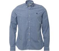 Herren Eastham Geprüft Hemd mit langem Arm Mittelblau