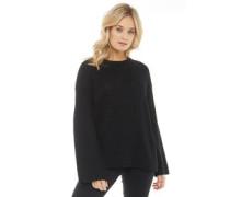 Damen Mode Pullover mit Rundhalsausschnitt Schwarz