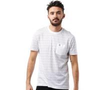 Original Penguin Herren Printed Crew Pocket T-Shirt Weiß