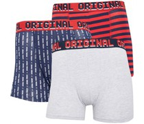 Stripes And Print Boxershorts Navy