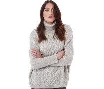Womens Cable Crew Jumper Grey Marl