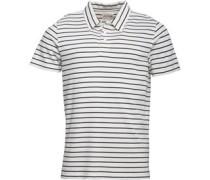 Herren Yarn Dyed Striped Polohemd Ecru