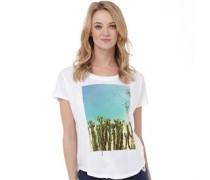 Damen Cactus Scoop Neck T-Shirt Weiß