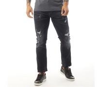 Elkslip Jeans in Slim Passform Dunkel Denim