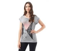 Firetrap Damen Slouch T-Shirt Grau