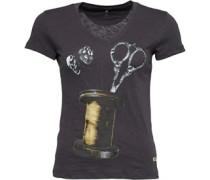 Damen Spool Neck T-Shirt Schwarz