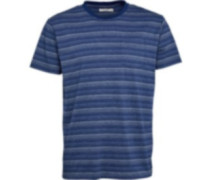 Herren Striped Polohemd Navy