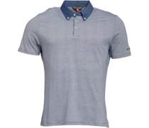 Herren Chambray Collar Feeder Stripe Polohemd Blau