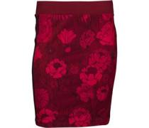 Damen 3 Stripe Floral Print Midi 3/4 Trainingshose Rot