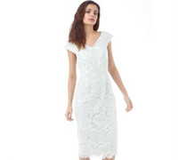 Ted Baker Velmia V Neck Fitted Lace Dress Mint