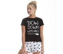 Damen Bow Down Short Set Pyjamas Nachtwäsche Schwarz