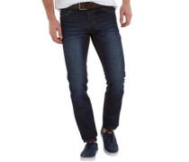 Herren Frontier Jeans in Slim Passform Indigo Wash/Brown Belt