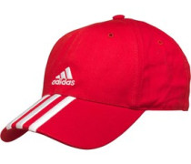 adidas Mens Essentials 3 Stripe Adjustable Cap Light Scarlett/White