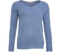 Damen Hals Pullover mit Rundhalsausschnitt Blau