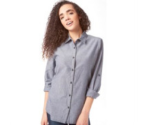 Damen Casual Hemd Mit Langem Arm Grau Blau
