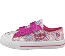 Mädchen Heart Print Embroidery Velcro Freizeit Schuhe White/Pink