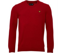 Lyle And Scott Vintage Mens V Neck Lambswool Jumper Ruby