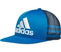 adidas Mens 3 Stripe Perfomance Trucker Snap Back Cap Shock Blue/Mineral Blue