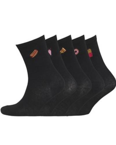 Damen Hot Dog Fünf Pack Socken Schwarz