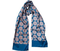 Ted Baker Mens Suznas Tile Print Silk Scarf Blue