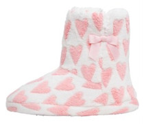 Board Angels Damen AOP Faux Fur Boot Hausschuhe Rosa