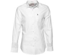 Original Penguin Herren Poplin Hemd mit langem Arm Weiß