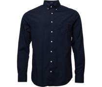 Herren Solid Broadcloth Reg Fit Hemd mit langem Arm Navy