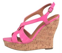 Little Mistress Womens Cork Wedge Sandals Bubblegum