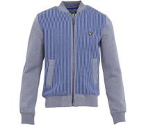 Junior Vertical Stripe Zip Through Top Grey Heather