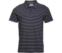 Herren Yarn Dyed Striped Polohemd Navy