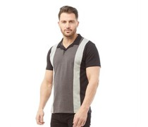 Vertical Stripe Polohemd Schwarz