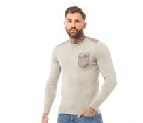 Pullover mit Rundhalsausschnitt meliert