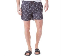 Tree Print Badeshorts Anthrazit