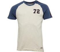 Mens Fox Raglan T-Shirt Ecru/Denim Marl/Wine