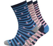 Damen 3 Packung Socken Blau