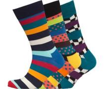 Herren Drei Pack Gestreift Socken Mehrfarbig
