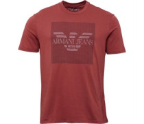 Armani Jeans Mens Crew Neck Logo T-Shirt Burgundy