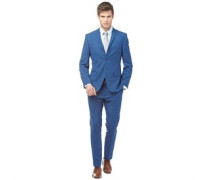 Herren Check Anzug Bright Blue Ground
