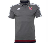 adidas Mens FCB Bayern Munich 3 Stripe Polo Ash/White