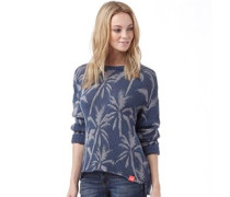 Superdry Womens Palm Print Slouch Knit Top Denim