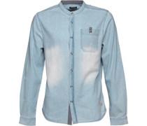 Firetrap Herren Oxna Collarless Hemd mit langem Arm Blau