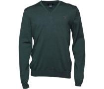 Gant Herren Solid Merino Wool Pullover mit V-Ausschnitt Grün