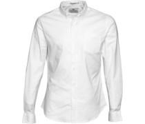 Crosshatch Herren Almond Hemd mit langem Arm Weiß