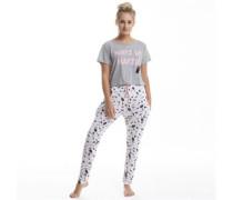Damen Wake Up Pyjama Graumeliert