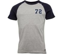 Mens Fox Raglan T-Shirt Light Grey Marl/Dark Navy/Sky Blue