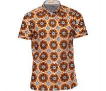 Ted Baker Mens Evafter Large Tile Print Shirt Orange