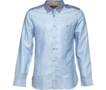 Ted Baker Mens Linbloc Linen Colour Block Shirt Blue