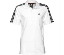 Herren Essentials 3 Stripe ClimaLite Polohemd Weiß