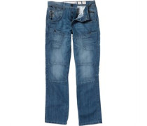 Crosshatch Herren Lopes Utility wash Jeans in regulär Passform Blau